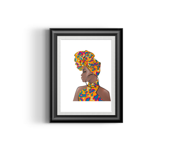 Girl Boss V  Fashion Sketch, African Fashion, Portrait, African Art, Digital Art, Digital Print, Home Decor, Black woman art, Ankara