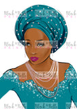 Bride in Gemstones, African Bride Art work, Black woman art work, Portrait painting, Giclee Print, Digital Art, Home Decor, Fashion sketch