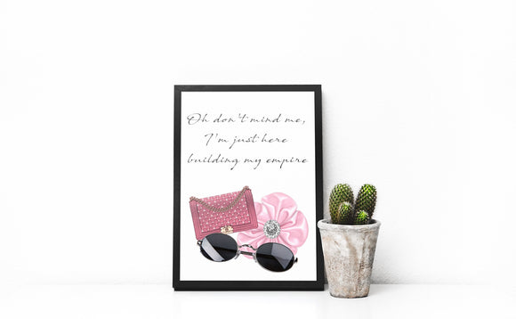 Luxury Handbag Wall print, Sunglasses print, inspirational quote print, designer handbag print, home decor, quote print, fashion art, girly