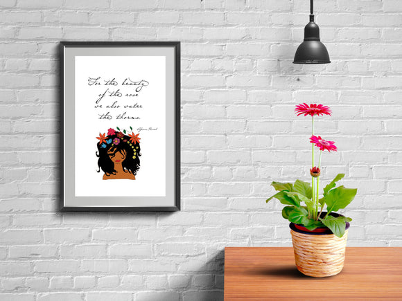 Inspirational Wall print, Motivational Quote, Floral wall print, Natural hair wall art, home decor, quote print, fashion print, girly