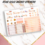 Rose Gold Weekly Functional Planner Stickers