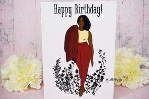 Black Female Greetings and Birthday Card