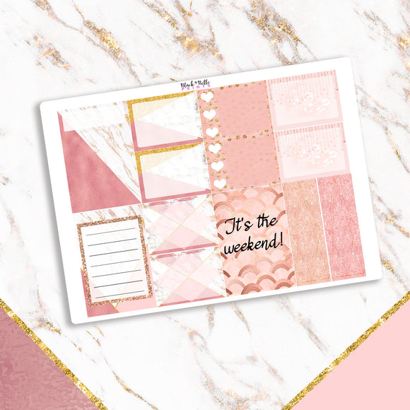 Rose Gold and Marble Half Box Planner Stickers