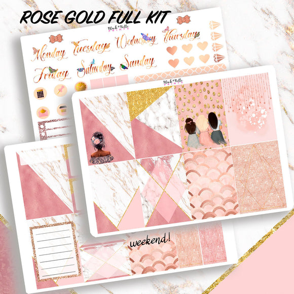 Rose Gold and Marble Full Kit Planner Stickers