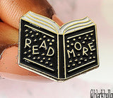 Book 'Read More' Enamel Pin with Gold Plating