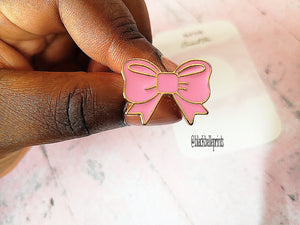 Pink Bow Hard Enamel Pin with Gold Plating