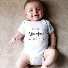 Load image into Gallery viewer, Let The Adventure Begin Baby Onesie Pregnancy Announcement Onesie Clothing Baby Boys Girls Bodysuit Jumpsuit Clothes Outfits