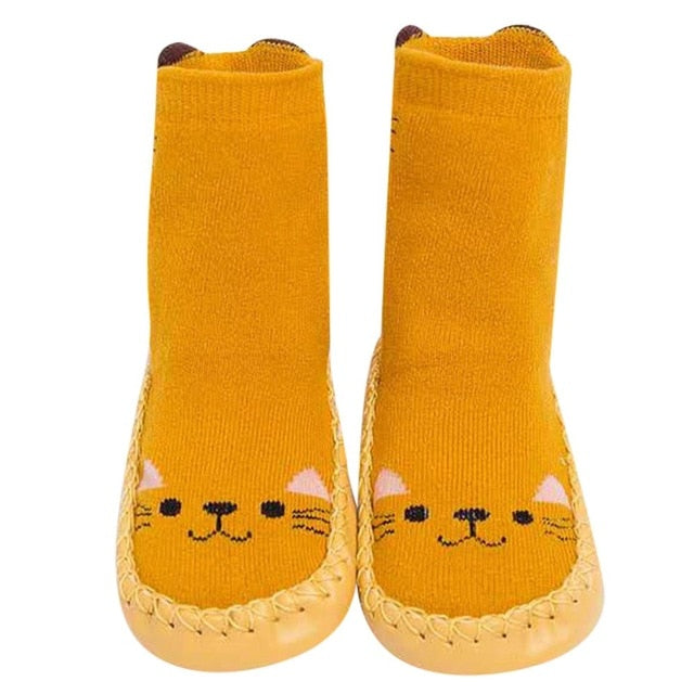 Baby Shoes Children Infant Cartoon Animal Thick Warm Socks Baby Gift Kids Indoor Floor Leather Sole Non-Slip Thick Towel Bebe