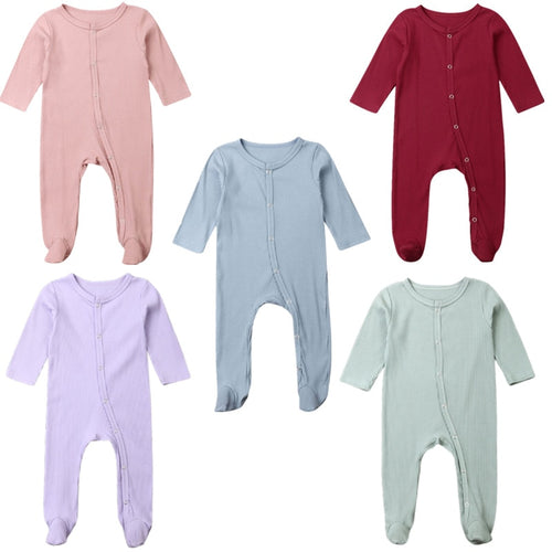 2019 Baby Spring Autumn Clothing 0-6M Baby Newborn Boy Infant Girl Long Sleeve Footies Solid Ribbed Playsuit Outfit Clothes Set
