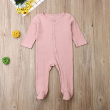Load image into Gallery viewer, 2019 Baby Spring Autumn Clothing 0-6M Baby Newborn Boy Infant Girl Long Sleeve Footies Solid Ribbed Playsuit Outfit Clothes Set