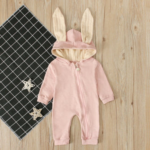Autumn Winter Newborn Baby Boy Girl Clothes Rabbit Ears Long Sleeve Warm Zipper Cute Romper Jumpsuit Overall Outfits Clothing