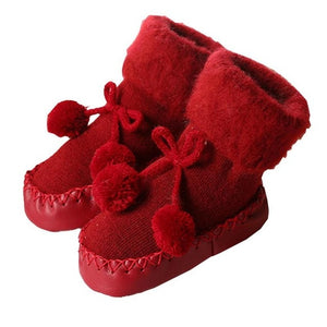 New Floor Socks Baby Plus Velvet Warm Toddler Shoes Non-slip