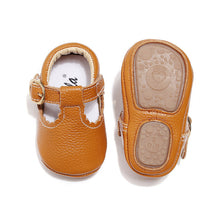 Load image into Gallery viewer, Baby Moccasins Princess Hard Sole First Walkers Toddler Girl Shoes Newborn Baby Girl Mary Jane Shoes Genuine Leather Baby T-bar