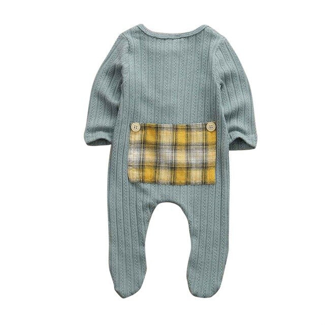 Infant Newborn Toddler Baby Boy Girl Romper Plaid Pockets Knitted Jumpsuit Outfits Cotton Clothes Cute Autumn Winter Autumn