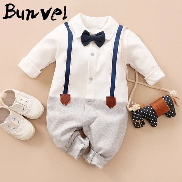 bunvel Baby Infant Rompers Patchwork Baby Girl Clothes White Necktie Baby Winter Clothes Boys Rompers Kids Costume For Girl 45