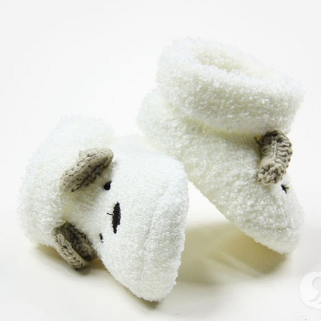 New Warm Socks Newborn Unisex Baby Boys Girls Infant Cute Bear Animals Crib Warm Shoes