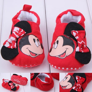 Romirus Autumn Baby Cotton Prewalker Soft Bottom Anti Slip baby shoes Infant Toddler Cartoon Mickey Mouse Shoes