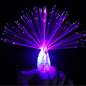 Hot Sale Children's Peacock Shape Finger Light Luminous Color Finger Lamp Light-emitting Toys Colorful Kids Luminous Ring