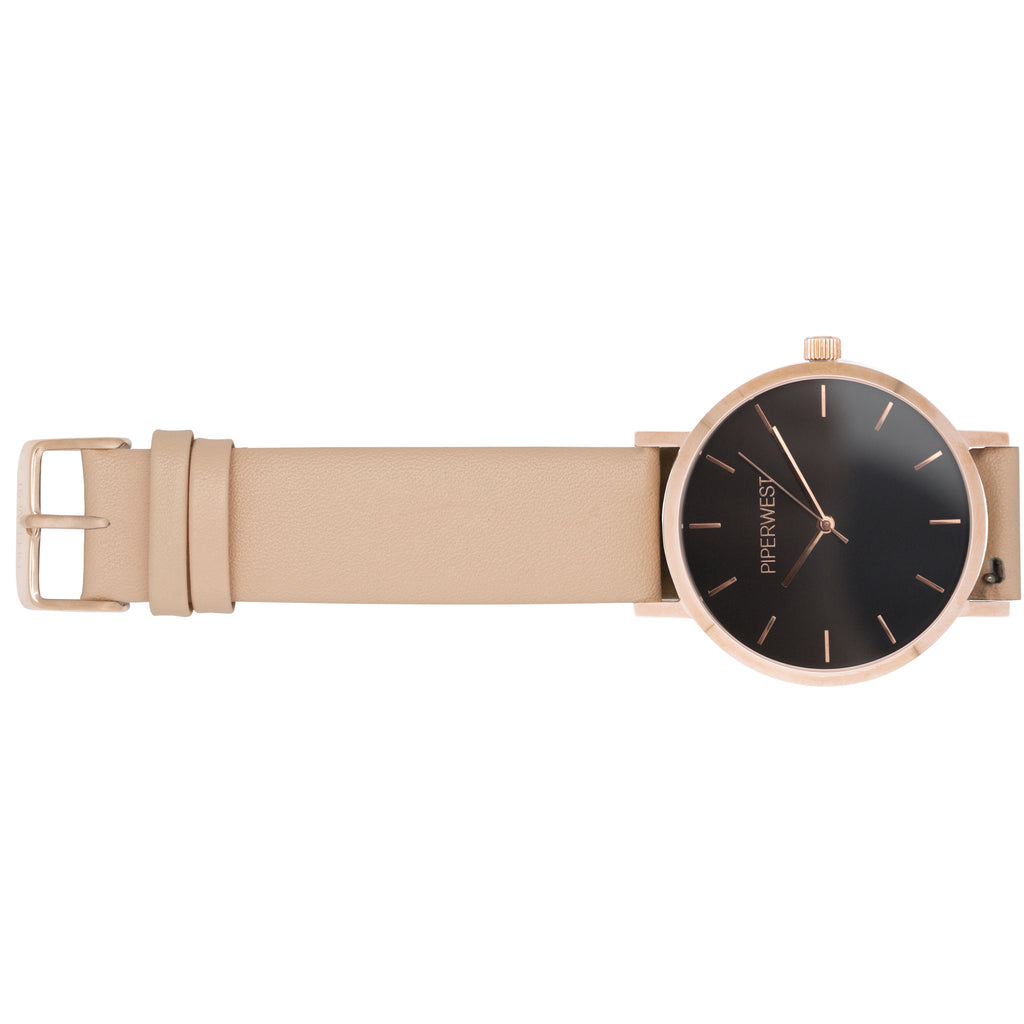 Classic Minimalist 42mm Timepiece in Rose Gold Blackout