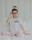 Allergic To Mornings PJ Set in White/Blush