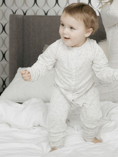 Baby Sweetheart Print Onesie in Grey/Blush