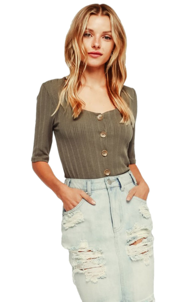Brooklyn Ribbed Button Up Top