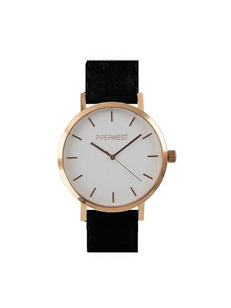 Classic Minimalist Watch in Rose Gold/Black Suede