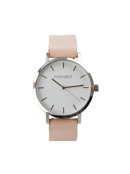Classic Minimalist Watch in Silver/Blush