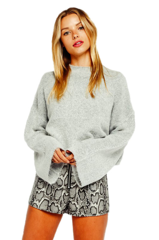 Ciara Mock Neck Bell Sleeve Sweater