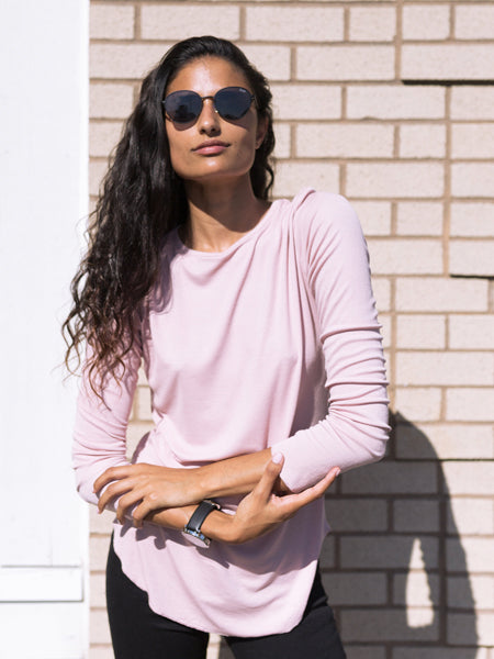 Closer Ribbed Long Sleeve with Thumb Holes in Soft Rose