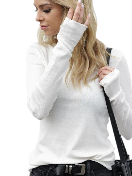 Closer Ribbed Long Sleeve with Thumb Holes in White