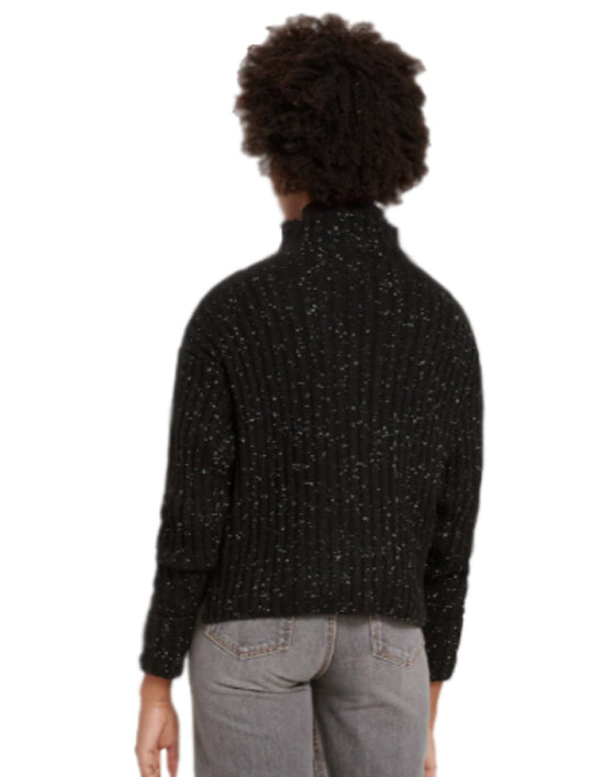 Donegal Mock Neck Sweater in Black