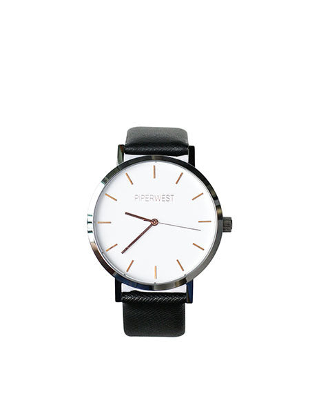 Duo Minimalist Watch in Silver/Rose Gold/Black Saffiano