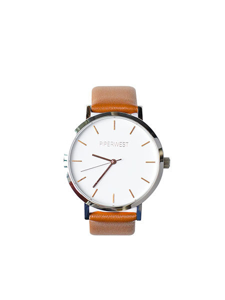Duo Minimalist Watch in Silver/Rose Gold/Tan