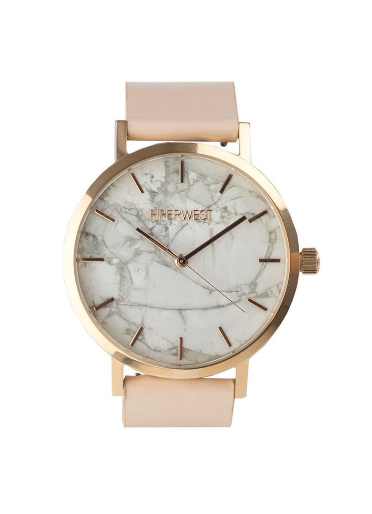 Marble Minimalist Watch in Rose Gold/Blush