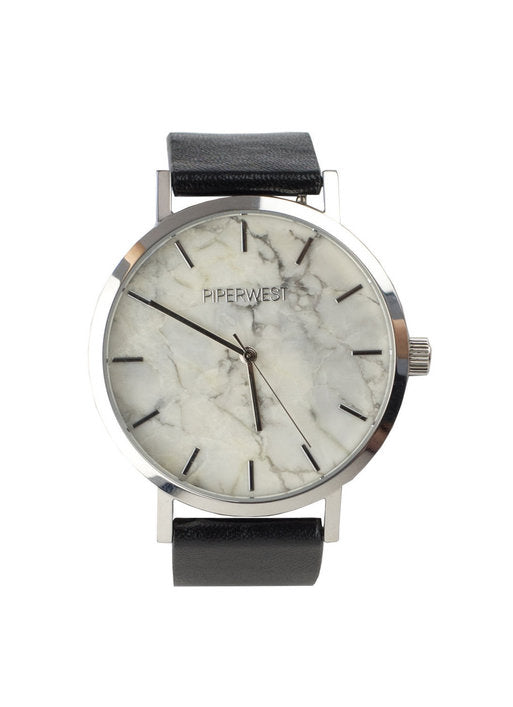 Marble Minimalist Watch in Silver/Black