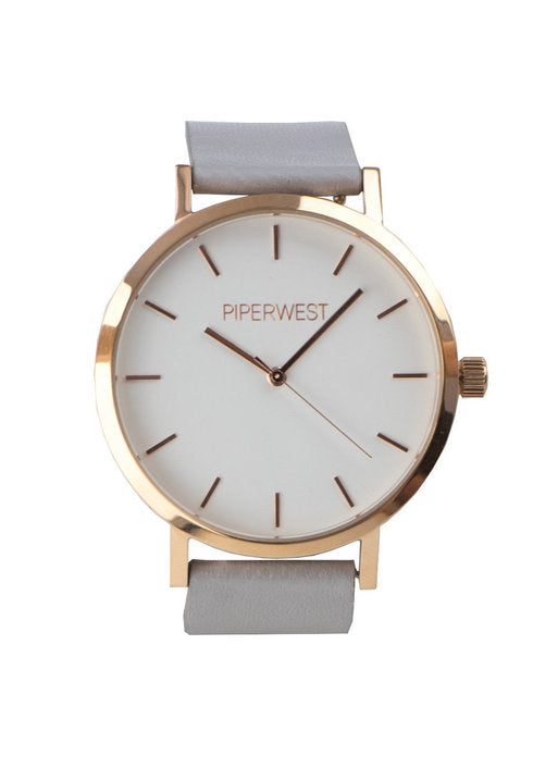 Classic Minimalist Watch in Rose Gold/Grey