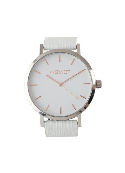 Duo Minimalist Watch in Silver/Rose Gold/White Saffiano