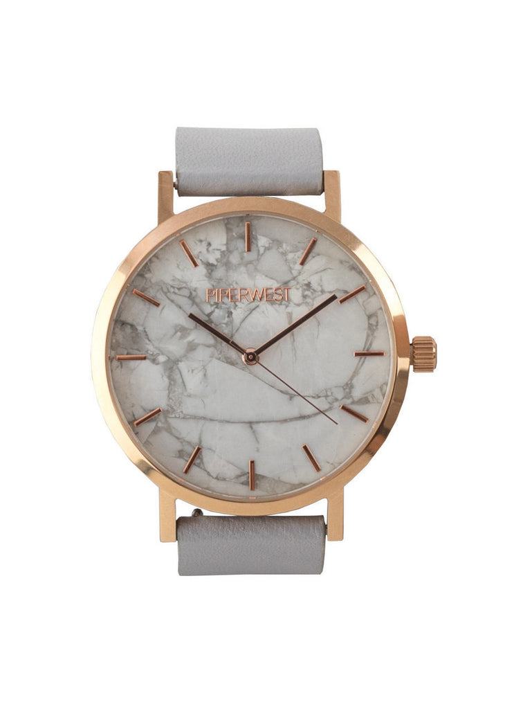 Marble Minimalist Watch in Rose Gold/Grey