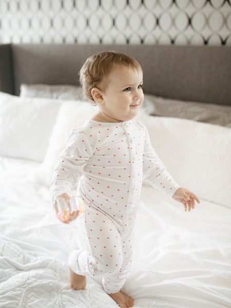 Baby Sweetheart Print Onesie in White/Red