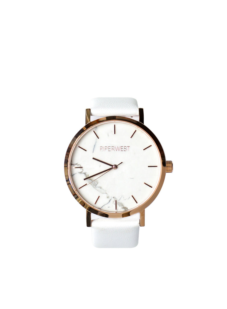 Marble Minimalist 42mm Timepiece in Rose Gold