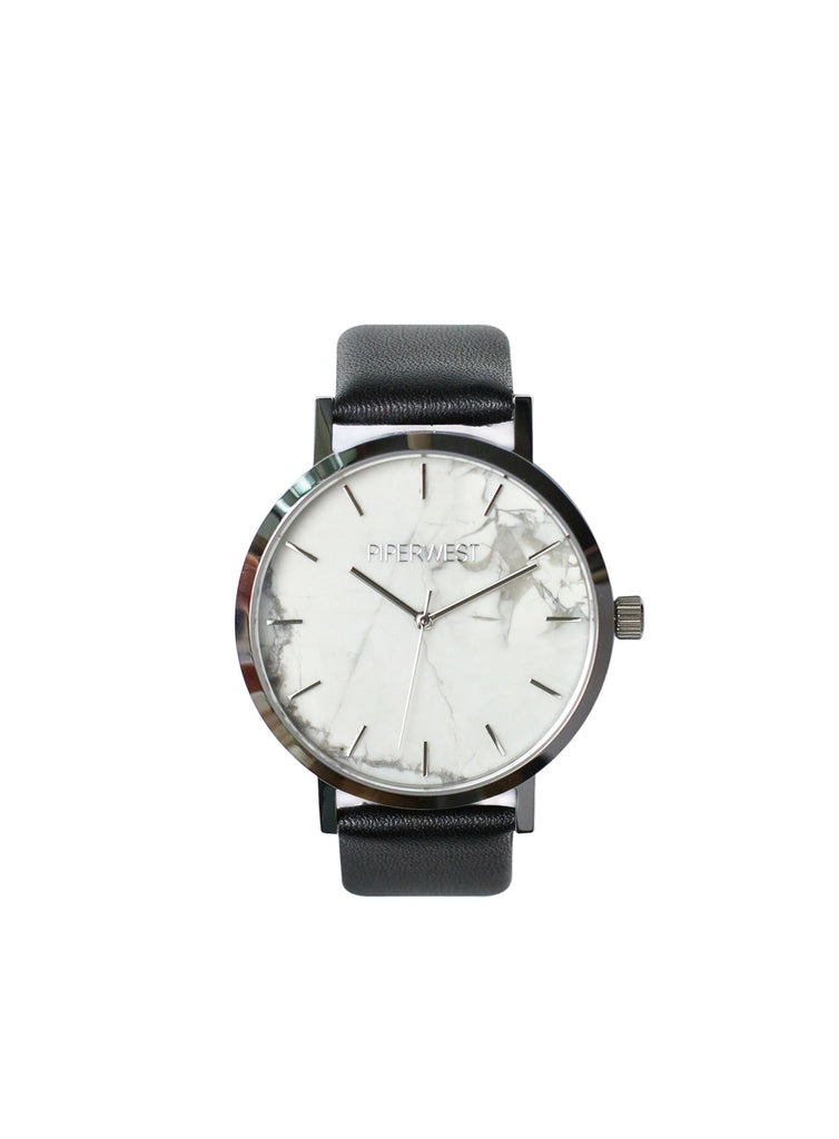 Marble Minimalist 42mm Timepiece in Silver