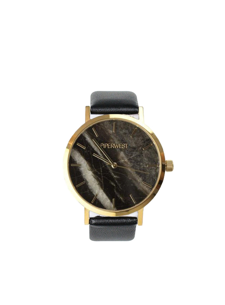 Marble Minimalist 42mm Timepiece in Gold