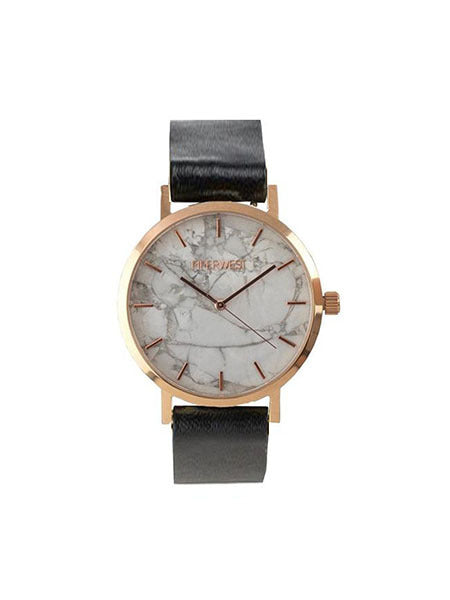 Marble Minimalist Watch in Rose Gold/Black