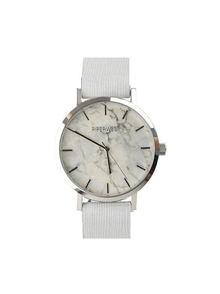 Marble Minimalist Watch in Silver/White Saffiano