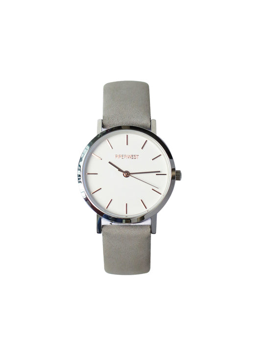 Duo Mini Minimalist 32mm Timepiece in Silver/Rose Gold