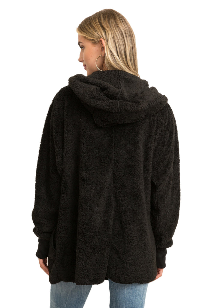 Plush Faux Fur Open Hooded Jacket