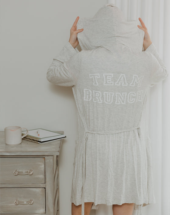 Team Brunch Hooded Robe in Grey/White