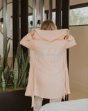 Team Brunch Hooded Robe in White/Peach Keen