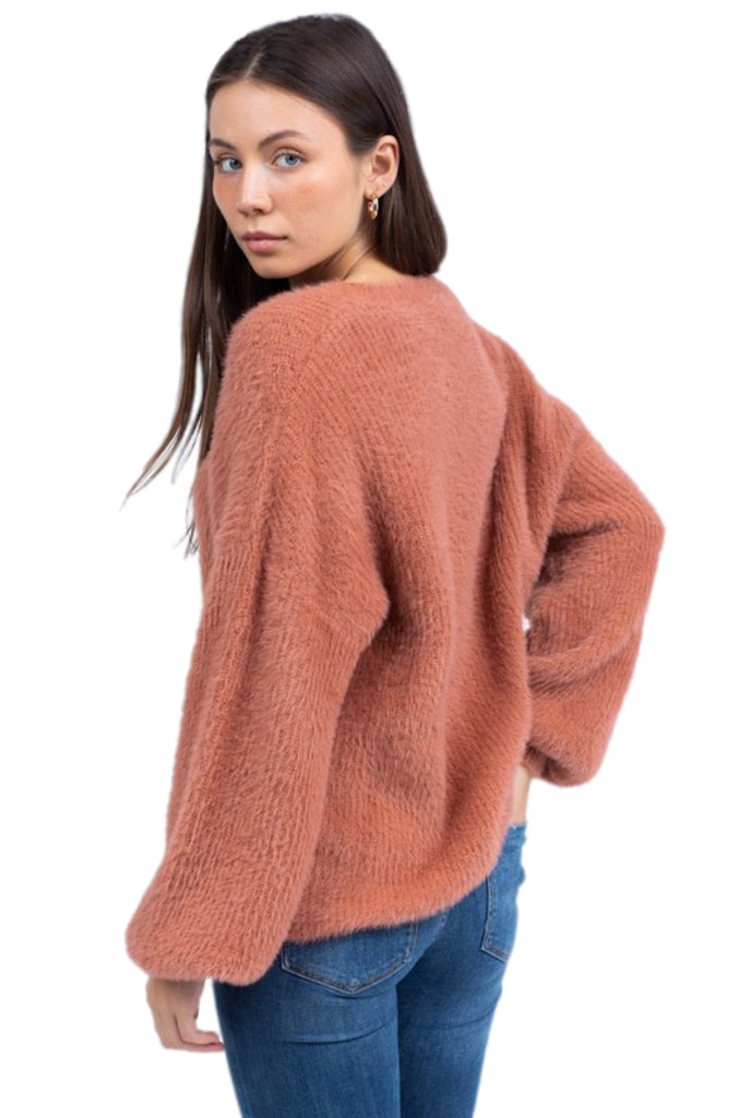 Tori Eyelash Long Sleeve Knit Sweater